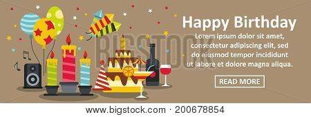 Happy birthday banner horizontal concept. Flat illustration of happy birthday banner horizontal vector concept for web