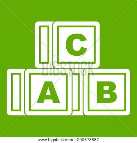 ABC cubes icon white isolated on green background. Vector illustration