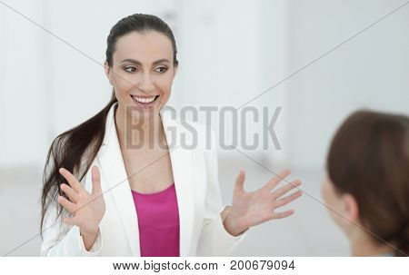 practicing woman lawyer listens to the client
