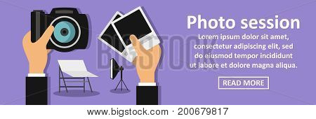 Photo session banner horizontal concept. Flat illustration of photo session banner horizontal vector concept for web