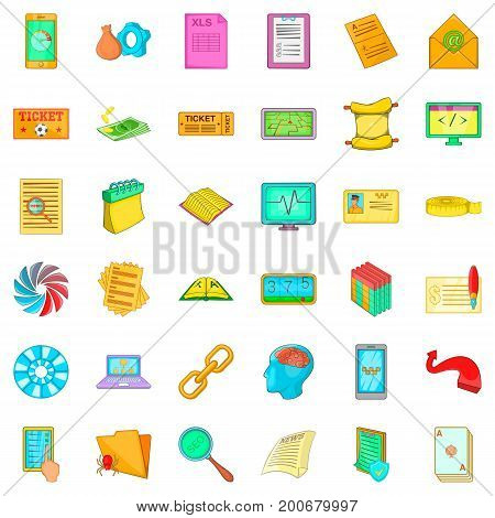 Chart icons set. Cartoon style of 36 chart vector icons for web isolated on white background