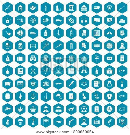100 offence icons set in sapphirine hexagon isolated vector illustration