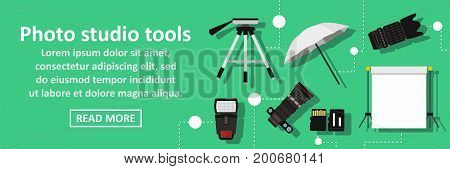 Photo studio tools banner horizontal concept. Flat illustration of photo studio tools banner horizontal vector concept for web