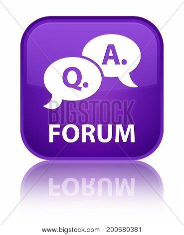 Forum (question Answer Bubble Icon) Special Purple Square Button