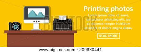 Printing photos banner horizontal concept. Flat illustration of printing photos banner horizontal vector concept for web