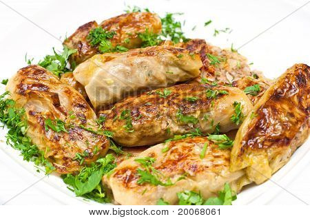 Golubci. Traditional Russian Food Made From Cabbage Leaves Filled With Meat And Rice