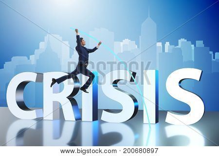 Businessman in business crisis concept