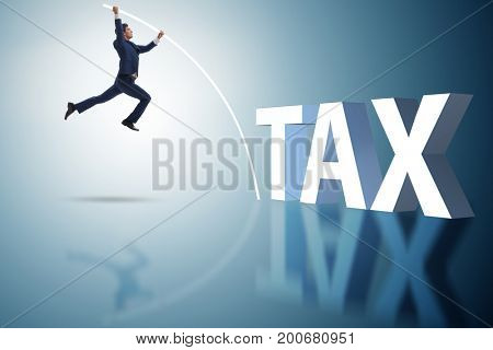 Businessman in tax evasion avoidance concept