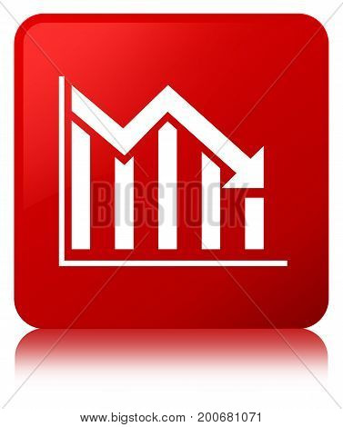 Statistics Down Icon Red Square Button