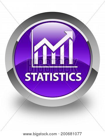 Statistics Glossy Purple Round Button