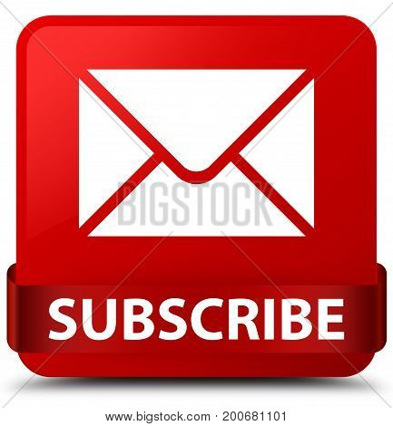 Subscribe (email Icon) Red Square Button Red Ribbon In Middle