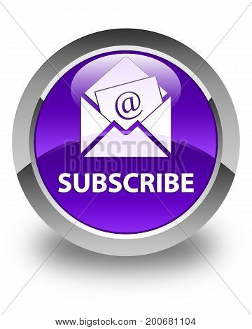 Subscribe (newsletter Email Icon) Glossy Purple Round Button