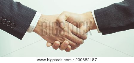 Business Man. Business handshake and business people vintage tone .panoramic banner