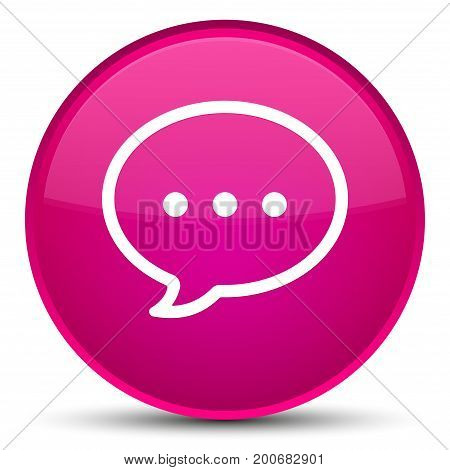 Talk Bubble Icon Special Pink Round Button