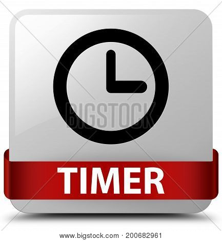 Timer White Square Button Red Ribbon In Middle