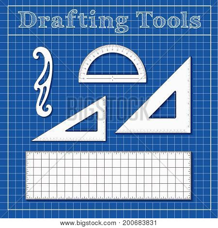 Drafting Tools for Architecture, Engineers, Science and Math.  45 degree triangle, 60 degree triangle, ruler, French Curve, protractor, blueprint background.