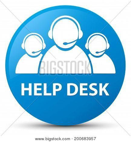 Help Desk (customer Care Team Icon) Cyan Blue Round Button