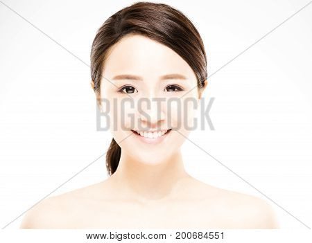 closeup beautiful young woman with clean face