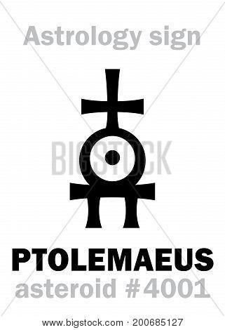 Astrology Alphabet: PTOLEMAEUS, asteroid #4001. Hieroglyphics character sign (single symbol).