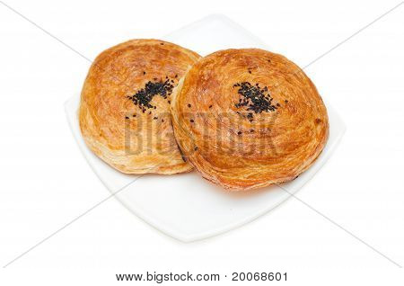 Traditional Savory Pastries On White Background