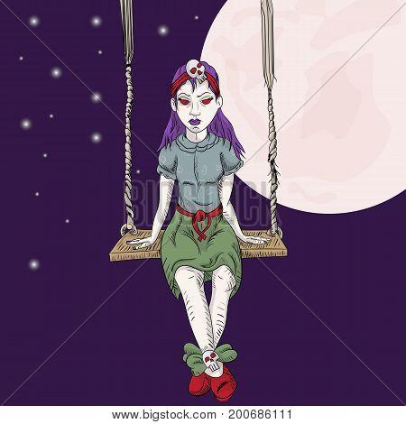 Vector illustration little emo girl sitting on a swing