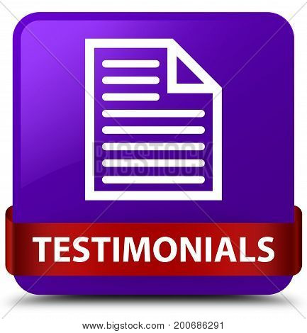 Testimonials (page Icon) Purple Square Button Red Ribbon In Middle