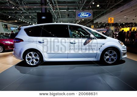 Moscow, Russia - August 25:  White Ford C-max At Moscow International Exhibition Interauto On August