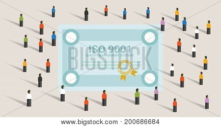 ISO 9001 quality management systems certification standard international compliance together achieve leadership vector