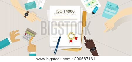ISO 14000 management environmental standards business compliance to international organization hand audit check document vector