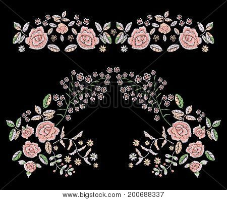 Embroidery folk pattern with simplified roses. Vector embroidered floral patches with flowers for clothing design.