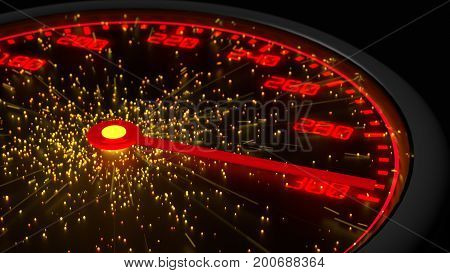 Speed instrument in red reaching maximum emitting sparks from the center 3D illustration