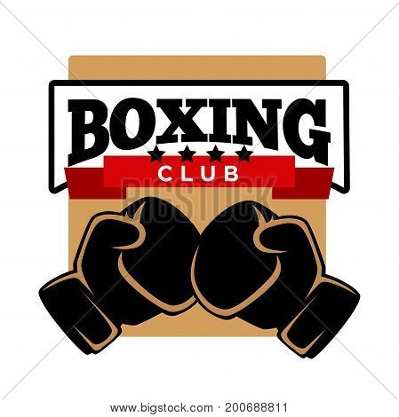 Five-star boxing club logotype with gloves and huge sign isolated cartoon vector illustration on white background. Sport community for professional sportsmen to develop skills promotional emblem.