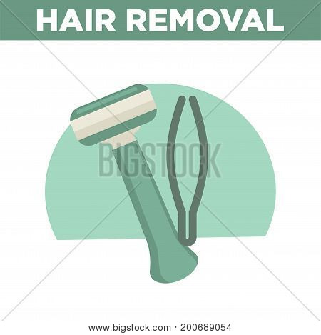 Hair removal promotional banner with modern convenient shaver and thin metal tweezers isolated vector illustration on white background. Sharp tools for beauty procedures on salon commercial poster.
