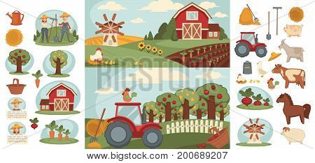 Farm or farmer agriculture household of man and woman farmers on field farming vegetables harvest, cattle pasture and fowl chicken, wheat barn or grain mill and farm work tools. Vector flat design