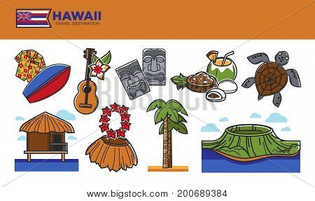 Hawaii travel destination poster. Colorful surfboard, acoustic guitar, stone sculptures, fresh fruits, sea turtle, wooden bungalow, straw skirt, tall palm and natural landscape vector illustrations.