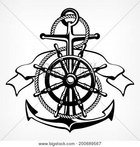 Anchor Symbol Badge On White