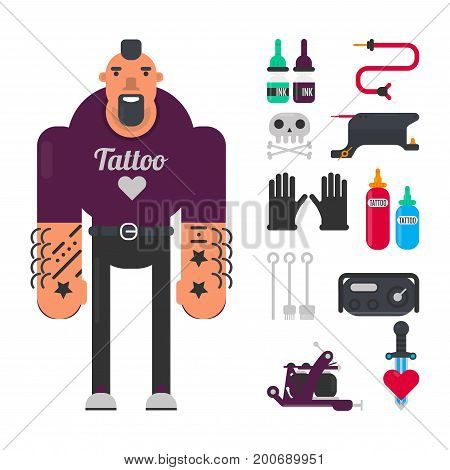 Male tattoo master in purple sweatshirt with black beard, bottle of inks, electric machine, rubber gloves and sharp metal needles isolated cartoon flat vector illustrations on white background.