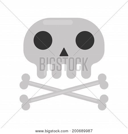 Small skull with black round eyes and triangular nose whole and crossed thin bones isolated cartoon vector illustration on white background. Tattoo sketch of human skeleton in minimalistic style.