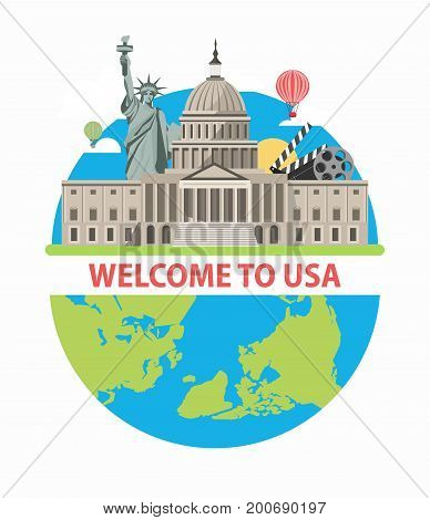Welcome to USA poster of America famous landmarks and tourist attractions on world globe. New York Liberty Statue, American Capitol White House in Washington and Hollywood cinema vector flat design