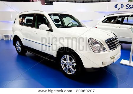 Moscow, Russia - August 25:  White Jeep Car Ssangyong  Rexton At Moscow International Exhibition Int