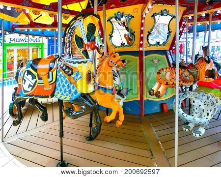 Barcelona, Spain - September 06, 2015: The French carousel at Royal Caribbean, Allure of the Seas sailing from Barselona on September 6 2015.
