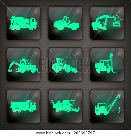 Agricultural machinery icons industrial machinery silhouette on dark vector illustration