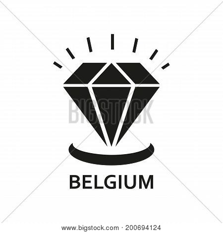 Simple icon of diamond with Belgium lettering. Diamond trade, travel, tourism. Travel concept. Can be used for greeting cards, postcards and travel guides