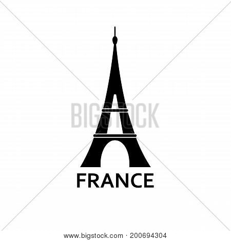 Simple icon of Eifel tower and France lettering. Landmark, Paris, tourism. Travel concept. Can be used for greeting cards, postcards and travel guides