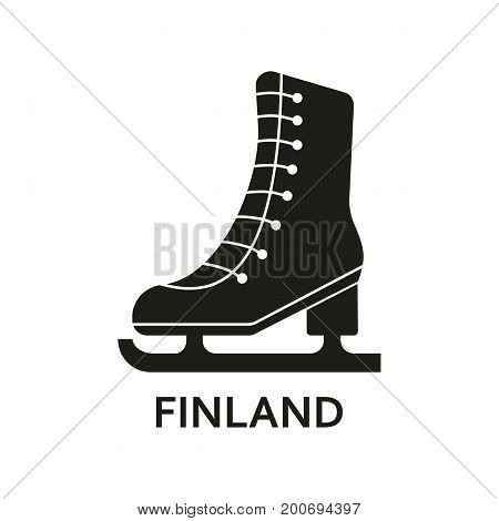 Simple icon of figure skate with Finland lettering. Ice skating, tourism, championship. Travel concept. Can be used for greeting cards, postcards and travel guides