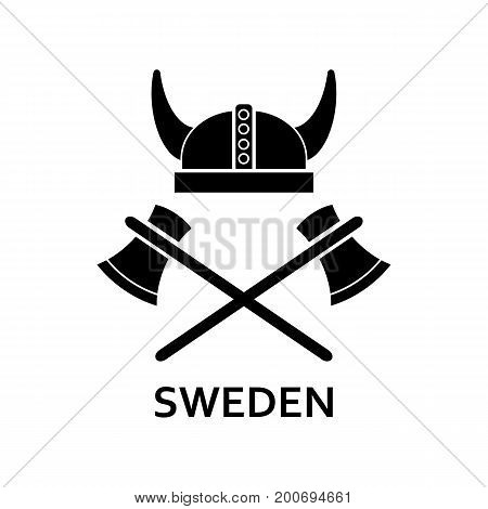Simple icon of horned helmet with crossed axes and Sweden lettering. Viking, travel, tourism. Travel concept. Can be used for greeting cards, postcards and travel guides