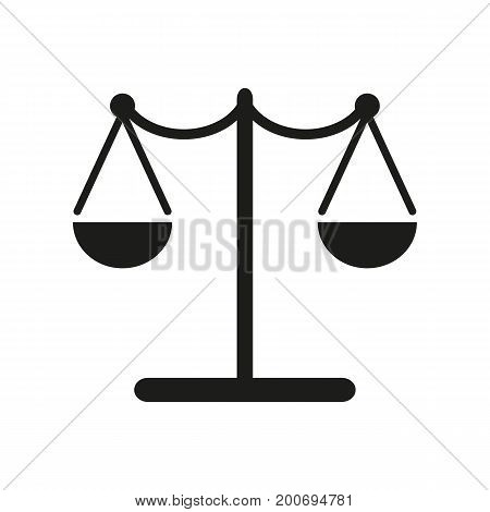 Simple icon of justice scales. Court, balance, law. Police concept. Can be used for topics like justice system, measurement, punishment