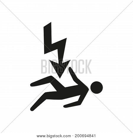 Simple icon of lightning strike killing man. Life assurance, accident insurance, high voltage. Warrant concept. Can be used for topics like insurance, service, danger
