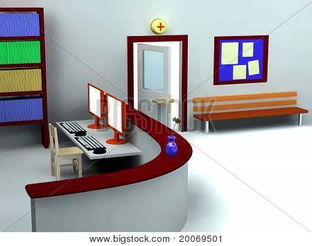 3D Of Hospital Waiting Room And Registry