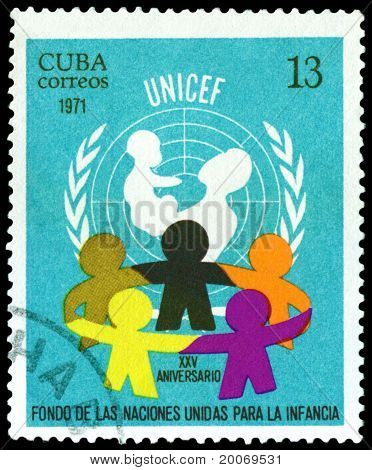 Vintage  Postage Stamp. Unicef. 25 Th Anniv.